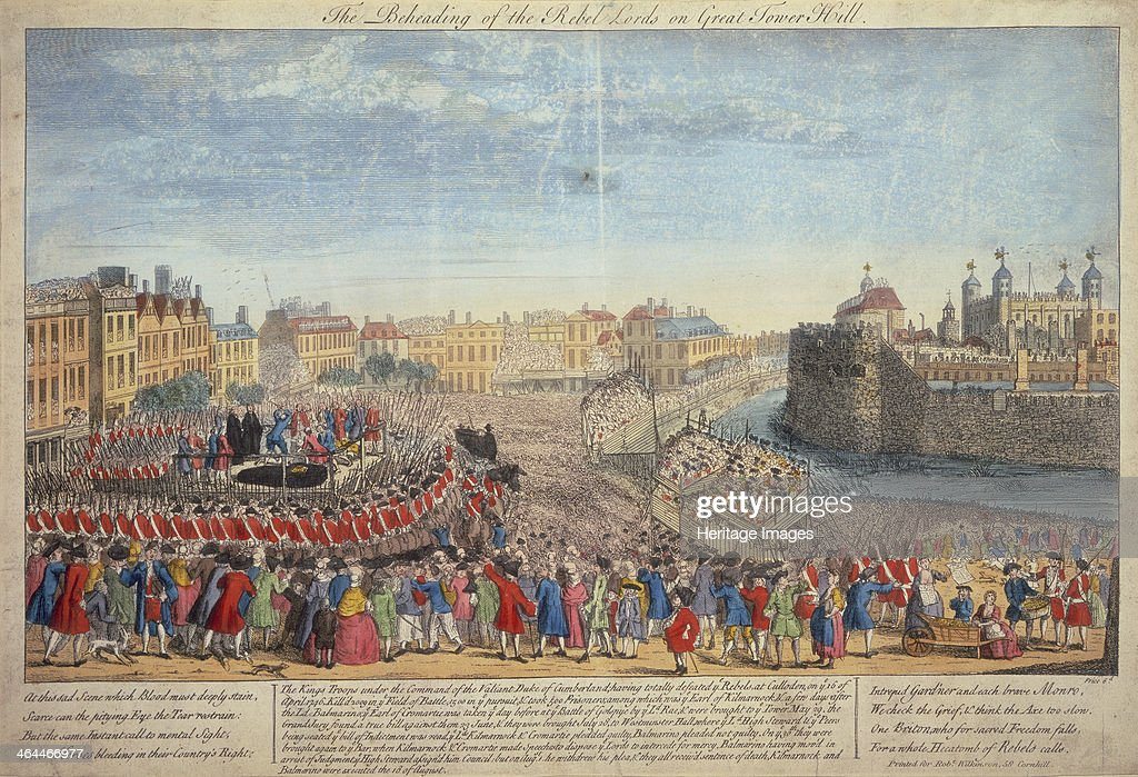 'The Beheading of the Rebel Lords on Great Tower Hill', c1746. : Foto jornalística
