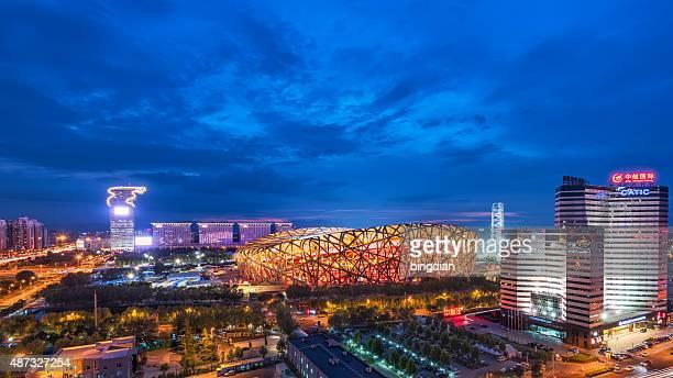 lo stadio nazionale di pechino di notte - stadio olimpico nazionale foto e immagini stock