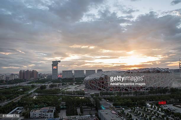 the beijing national stadium built for the 2008 summer, sunset - 国立オリンピック競技場 ストックフォトと画像