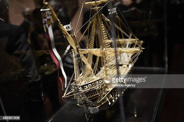 The bejeweled model of the 'Santa Maria' made by the jeweler Avedis Kendir is on display in Madrid Spain on October 19 2015 La Santa Maria was the...