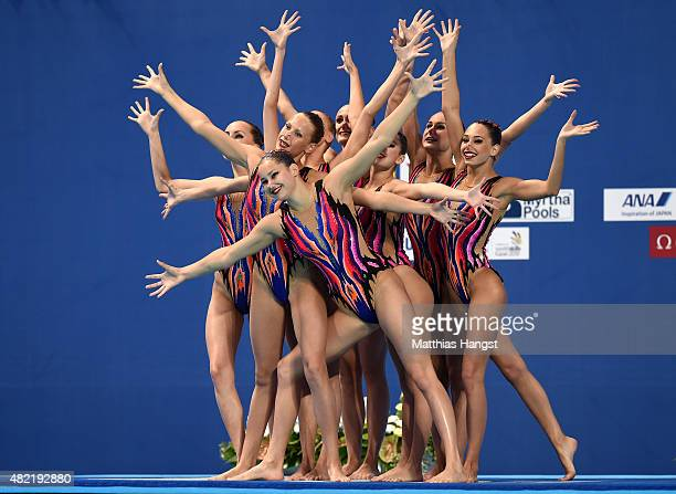 The Belarus team compete in the Women's Team Free Synchronised Swimming Preliminary on day four of the 16th FINA World Championships at the Kazan...