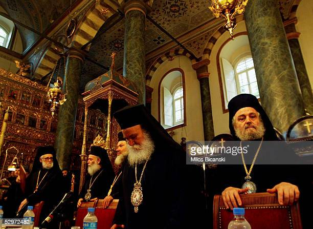 The beleaguered patriarch of Jerusalem Irineos I participates in a panOrthodox synod to decide whether to stop recognizing him as patriarch at the...