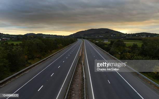 The Belfast to Dublin motorway crosses the border line between Northern Ireland and the Republic of Ireland as viewed from the northern side of the...