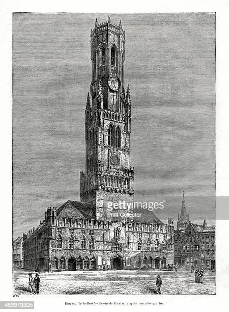 The belfry Bruges Belgium 1886 The mediaeval belfry tower was built between the 13th15th centuries Over 80 metres high it houses a carillon of bells
