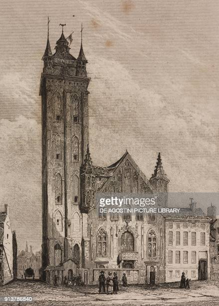 The Belfry of Ghent Belgium engraving by Lemaitre from Belgique et Hollande by Van Hasselt L'Univers pittoresque published by Firmin Didot Freres...