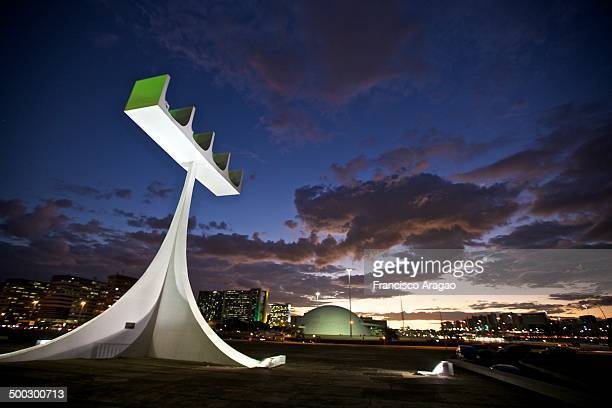 The Belfry of the Cathedral of Brasilia to sunset.