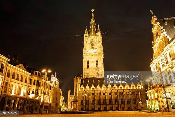 CONTENT] The Belfry Tower SintBaafsplein square in Ghent