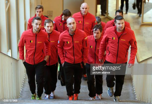 The Belgian Davis Cup team players Ruben Bemelmans , Steve Darcis , Arthur De Greef and Johan Van Herck after the announcement that Germany will meet...