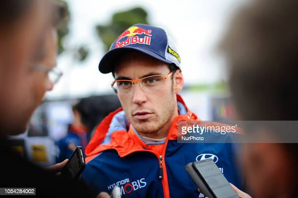 The Belgian driver Thierry Neuville of Hyunday Shell Mobis WRT at regroupment during the third day of Rally Racc Catalunya Costa Daurada on October...