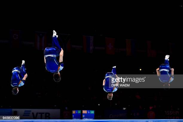 The Belgian men's team Noam Patel Raj Bram Geusens Jonas Anthoon and Hannes Garre perform on the first day of the 26th edition of the World...