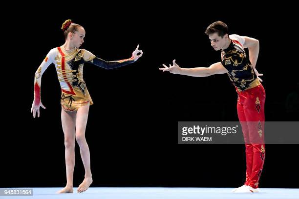 The Belgian mixed pair with Marte Snoeck and Bram Rottger perform on the first day of the 26th edition of the World Championships Acrobatic...