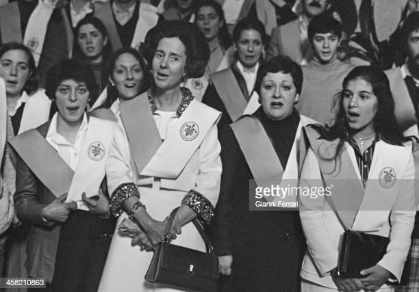 The Belgian Queen Fabiola at the wedding of a niece Santiago de Compostela Galicia Spain