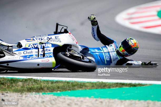 The Belgian rider Xavier Simeon of Reale Avintia Racing crash with his Ducati during the Qualifying Moto GP of Catalunya at Circuit de Catalunya on...