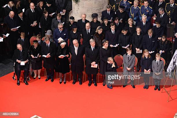 The Belgian Royal Family attend the funeral of Queen Fabiola of Belgium is held at Notre Dame Church on December 12, 2014 in Laeken, Belgium.