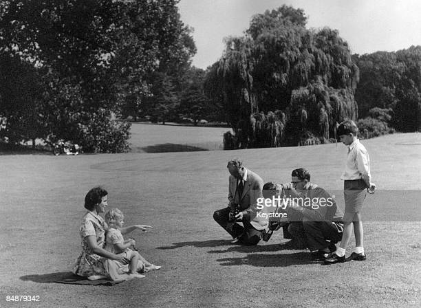 The Belgian royal family enjoy a day out at Laeken a suburb of Brussels 1953 The former King Leopold III Prince Albert King Baudouin I and Prince...