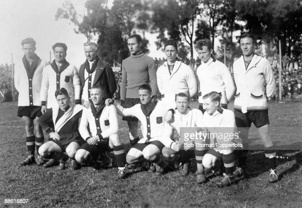 The Belgian team prior to their FIFA World Cup match against the United States of America at the Parque Central in Montevideo 13th July 1930 USA won...