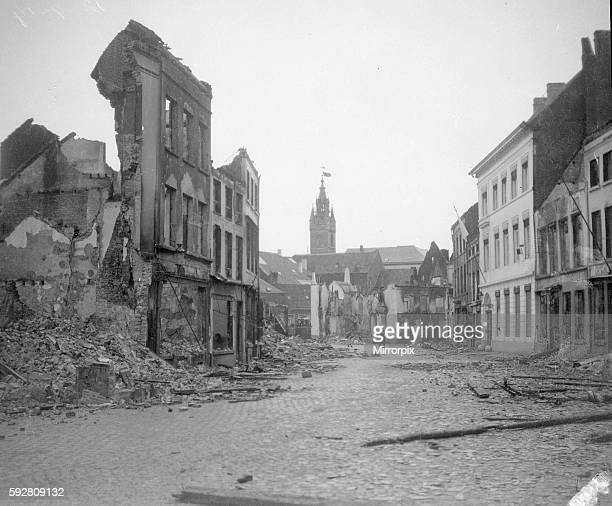 The Belgian town of Termonde after being recaptured is now only a heap of ruins and the picture shows the devastation caused by the Germans during...