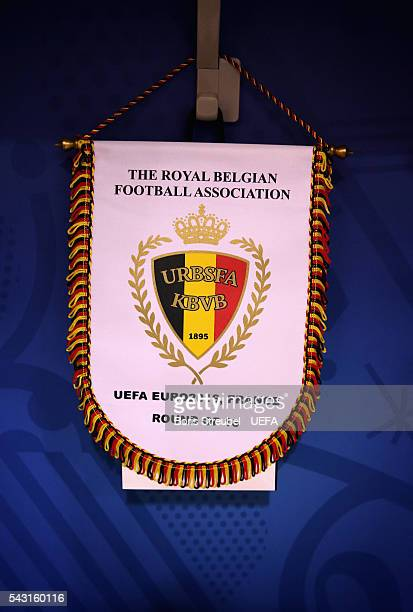 The Belgium pennant is seen ahead of the UEFA EURO 2016 round of 16 match bewtween Hungary and Belgium at Stadium Municipal on June 26 2016 in...