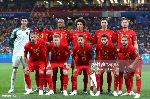The Belgium players pose for a team photo prior to the 2018 FIFA World Cup Russia Round of 16 match between Belgium and Japan at Rostov Arena on July...