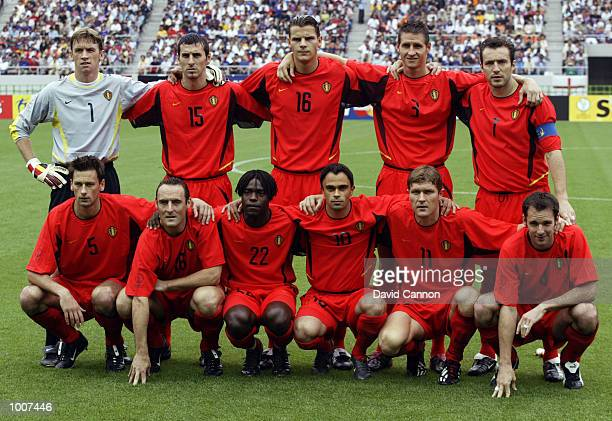 The Belgium team group before the first half during the Belgium v Russia Group H World Cup Group Stage match played at the Shizuoka Stadium Ecopa...