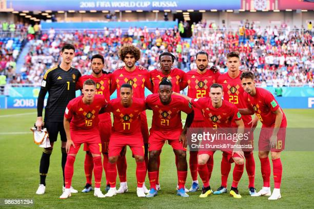 The Belgium team line up before the 2018 FIFA World Cup Russia group G match between England and Belgium at Kaliningrad Stadium on June 28 2018 in...