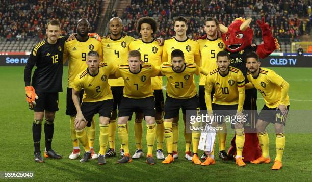 The Belgium team line up during the international friendly match between Belgium and Saudi Arabia at the King Baudouin Stadium on March 27 2018 in...