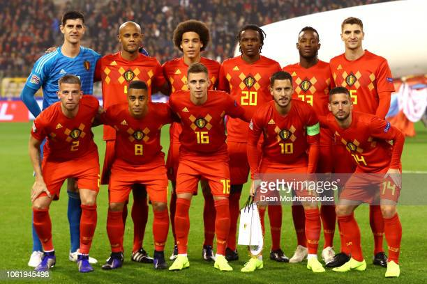 The Belgium team line up prior to the UEFA Nations League A group two match between Belgium and Iceland at King Baudouin Stadium on November 15 2018...
