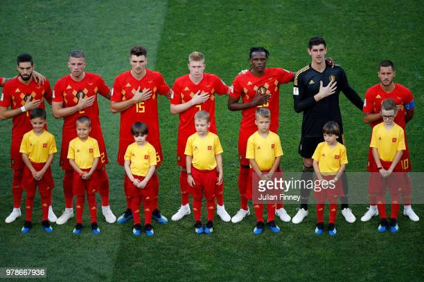The Belgium team lines up during the 2018 FIFA World Cup Russia group G match between Belgium and Panama at Fisht Stadium on June 18 2018 in Sochi...