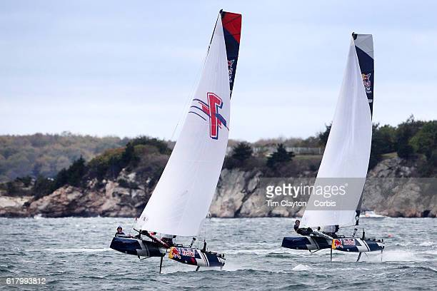 The Belgium team of Alec Bague and Wirtz Morgan and the Spanish team of Nil Das Romero and Jordi Llena Prats in action during the Red Bull Foiling...