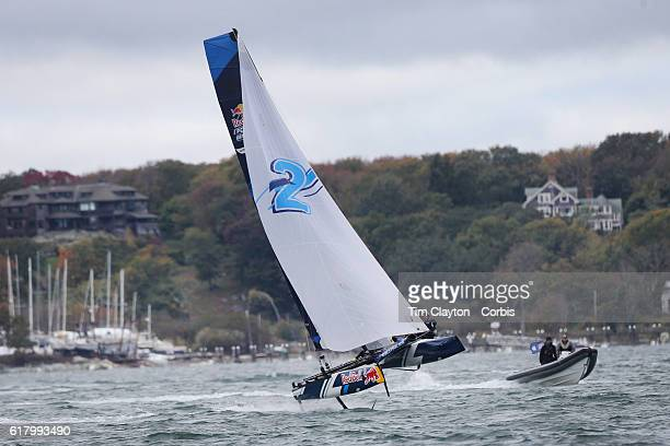 The Belgium team of Alec Bague and Wirtz Morgan in action during the Red Bull Foiling Generation World Final 2016 on October 22 2016 in Narragansett...