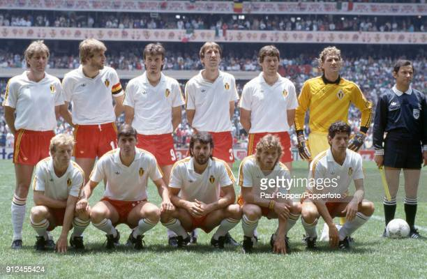 The Belgium team pose for photographers prior to the FIFA World Cup match between Belgium and Mexico at the Estadio Azteca in Mexico City, 3rd June...