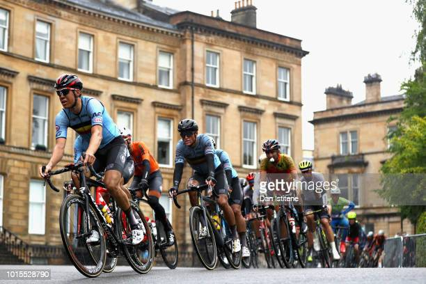 The Belgium team ride in the peloton in the Men's Road Race during the road cycling on Day Eleven of the European Championships Glasgow 2018 at on...