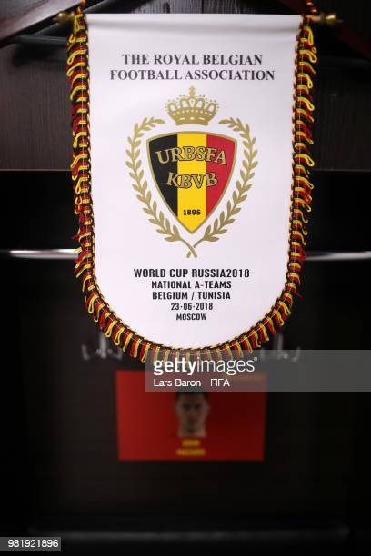 The Belgium's pennant hangs inside the dressing room prior to the 2018 FIFA World Cup Russia group G match between Belgium and Tunisia at Spartak...
