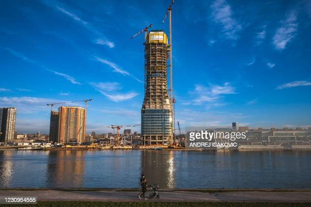 The Belgrade tower is seen under construction at Belgrade Waterfront construction site on February 3, 2021.