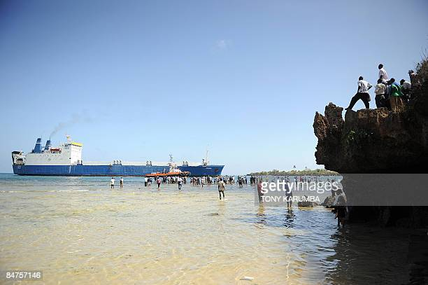 The Belize flagged MV Faina is escorted by a Kenyan port authority tug vessel into the port of Mombasa on February 12 2009 The Ukrainian vessel was...