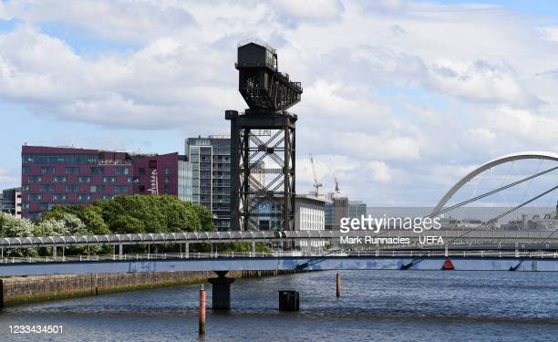 The Bell Bridge, The Finnieston Crain and The Clyde Arc , on banks of the River Clyde during the UEFA Euro 2020 Championship on June 13, 2021 in...
