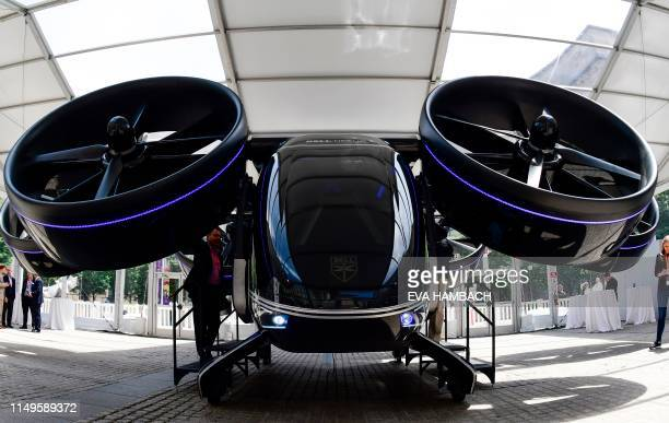 The Bell Nexus concept vehicle is shown at the Uber Elevate Summit June 12 2019 in Washington DC one of the vertical takeoff and landing vehicles or...