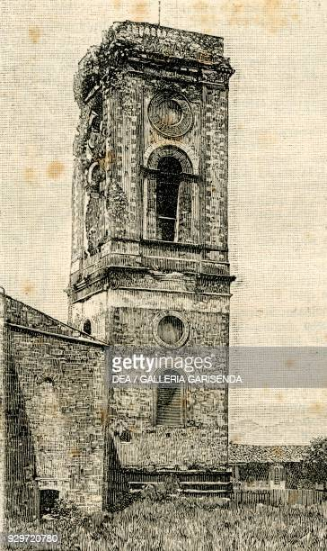 The bell tower of the Abbey Church of San Miniato al Monte, Florence, Tuscany, Italy, woodcut from Le cento citta d'Italia , illustrated monthly...