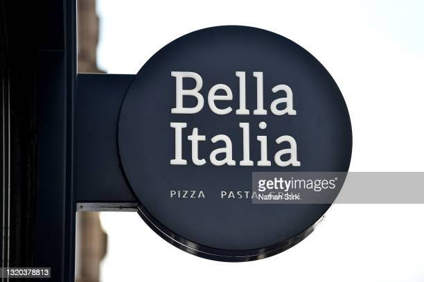 The Bella Italia logo is displayed outside one of its stores on May 27, 2021 in Leeds, England.