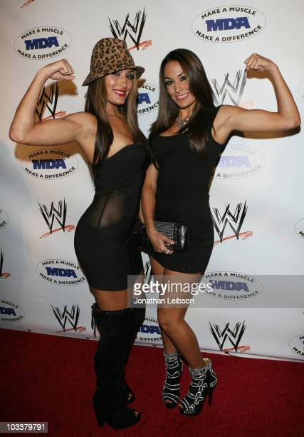 The Bella Twins arrive for the WWE SummerSlam KickOff Party at Tropicana Bar at The Hollywood Rooselvelt Hotel on August 13 2010 in Hollywood...