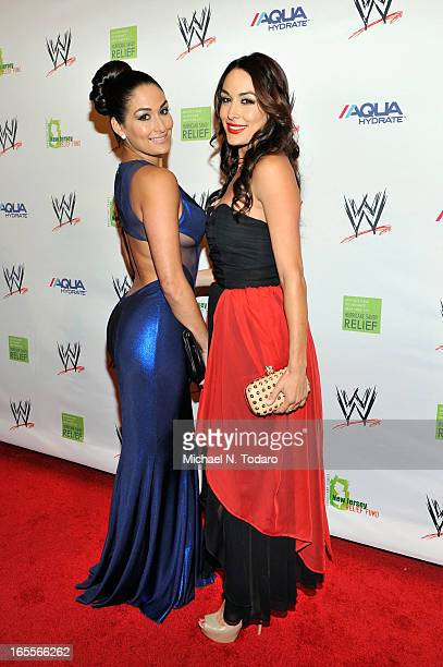 The Bella Twins attend WWE Superstars for Sandy Relief at Cipriani Wall Street on April 4 2013 in New York City