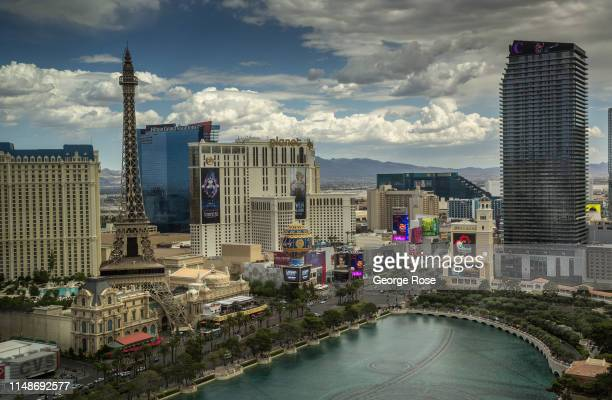 The Bellagio Hotel Casino water fountain lagoon is viewed from Caesars Palace Hotel Casino on May 8 2019 in Las Vegas Nevada As temperatures begin to...