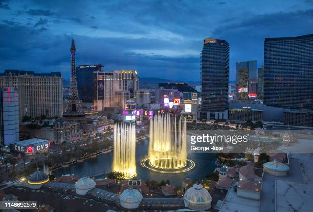 The Bellagio Hotel Casino water fountain show is viewed from Caesars Palace Hotel Casino on May 8 2019 in Las Vegas Nevada As temperatures begin to...