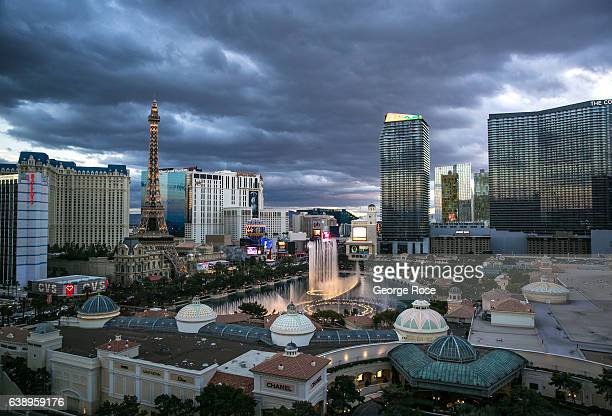 The Bellagio Hotel Casino water show is viewed from Caesars Palace on January 3 2017 in Las Vegas Nevada Tourism in America's Sin City has within the...