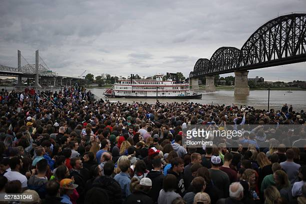 The Belle of Louisville riverboat passes by a rally for Senator Bernie Sanders an independent from Vermont and 2016 Democratic presidential candidate...
