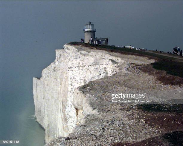 The Belle Tout Lighthouse at Beachy Head in East Sussex half way through the operation to move the Lighthouse away from a crumbling cliff edge 9/8/00...