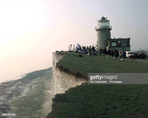 The Belle Tout Lighthouse at Beachy Head in East Sussex moves slowly toward its new site The granite lighthousewill be shifted about 70ft inland the...