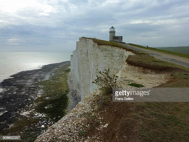 the belle tout lighthouse at beachy head - belle tout lighthouse stock photos and pictures