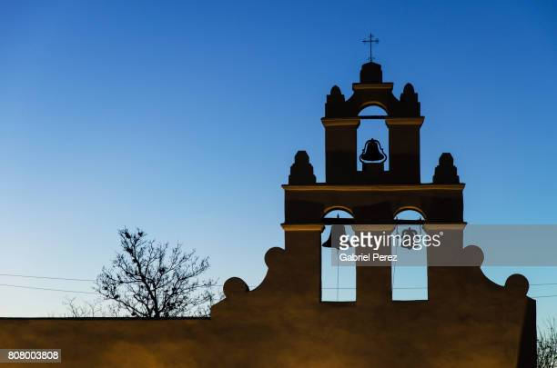 the belltower of mission san juan capistrano - san antonio texas stock photos and pictures
