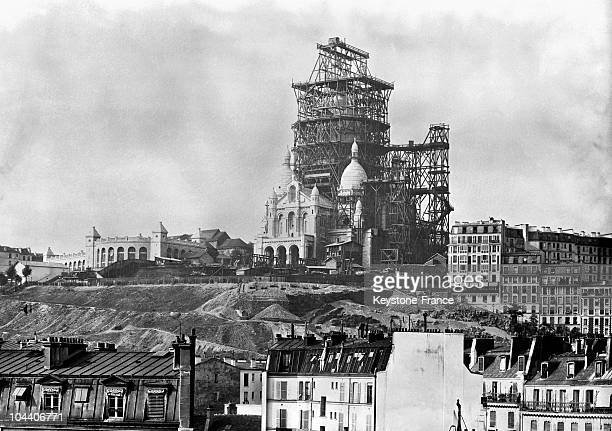 The belltower of the Sacre Coeur Basilica under construction on the Montmartre Hill in Paris in the 1880's